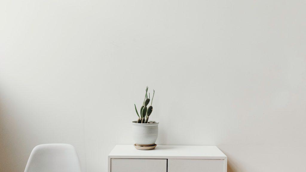 白い椅子と机とサボテンの無料バーチャル背景素材