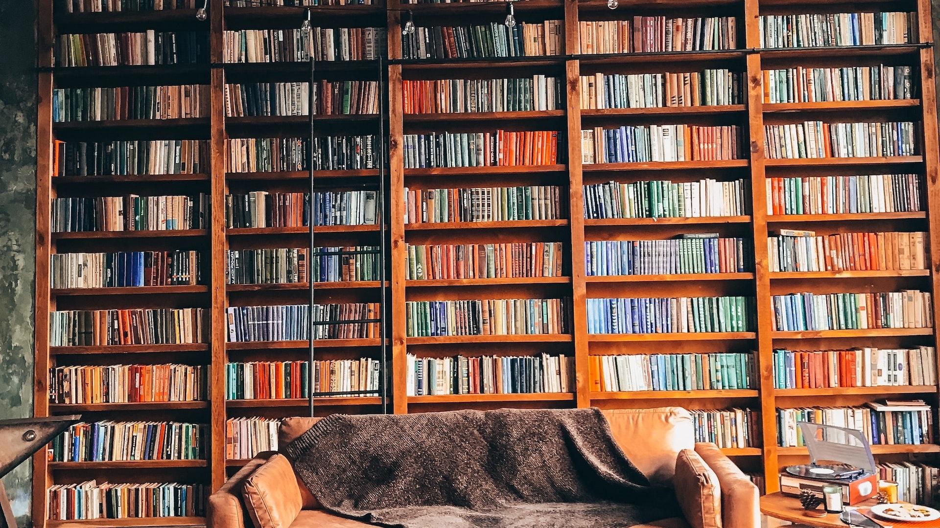 壁一面の本とソファー