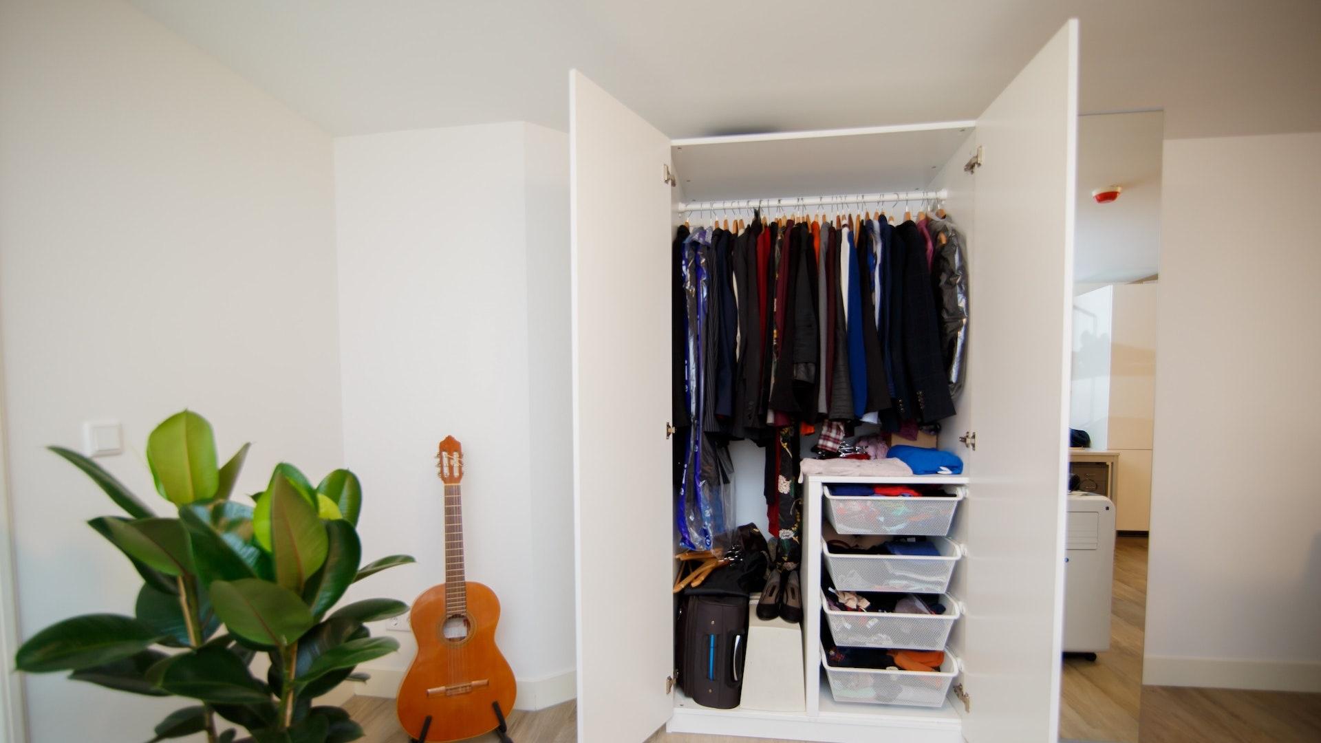 クローゼットとギターと観葉植物のある部屋
