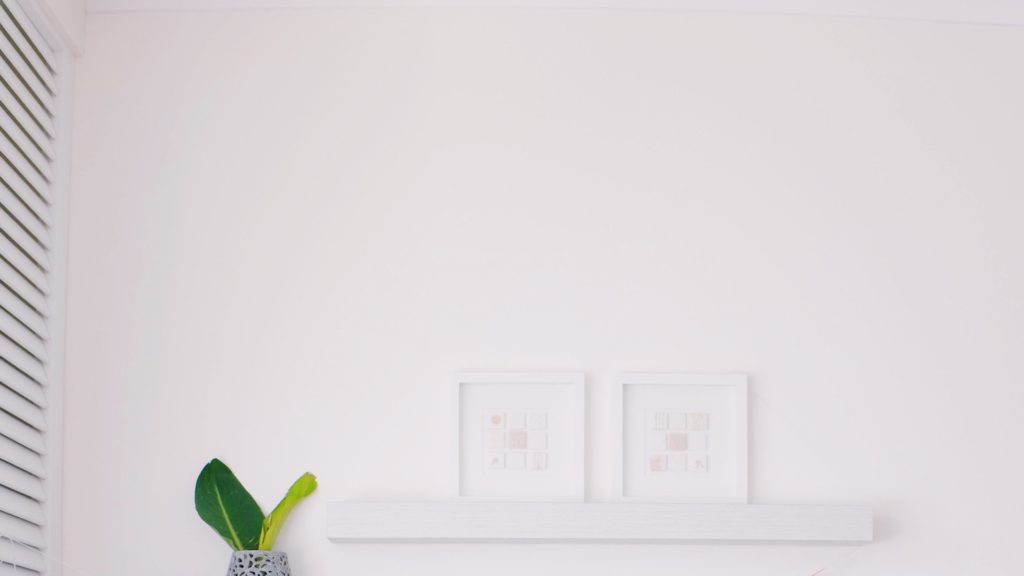 白い壁と2つのフレームと観葉植物