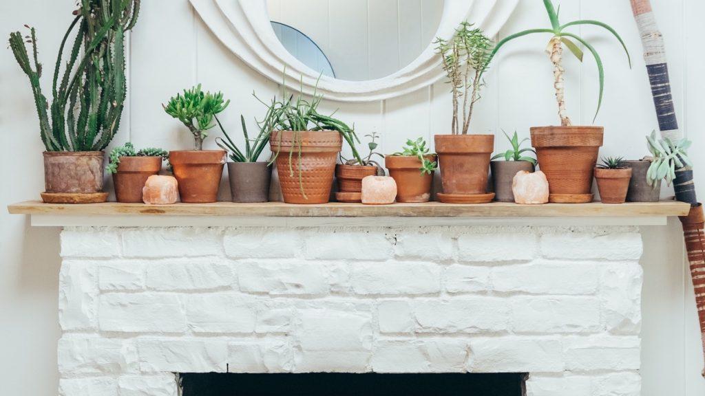 白い暖炉と観葉植物