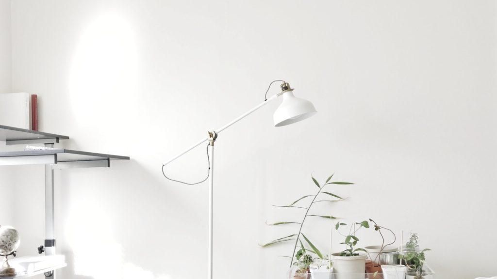 シェルフとデスクライトと観葉植物のある部屋
