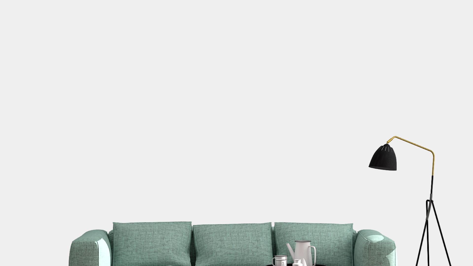 グリーンのソファーと黒いライト
