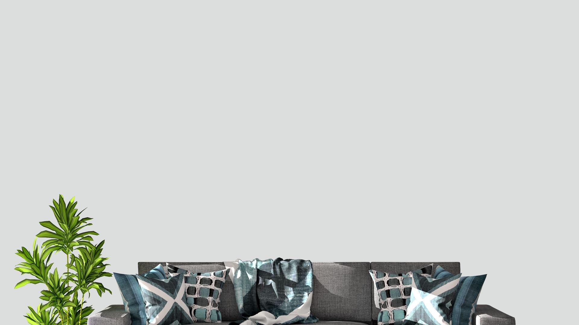 グレーのソファーと観葉植物のある部屋