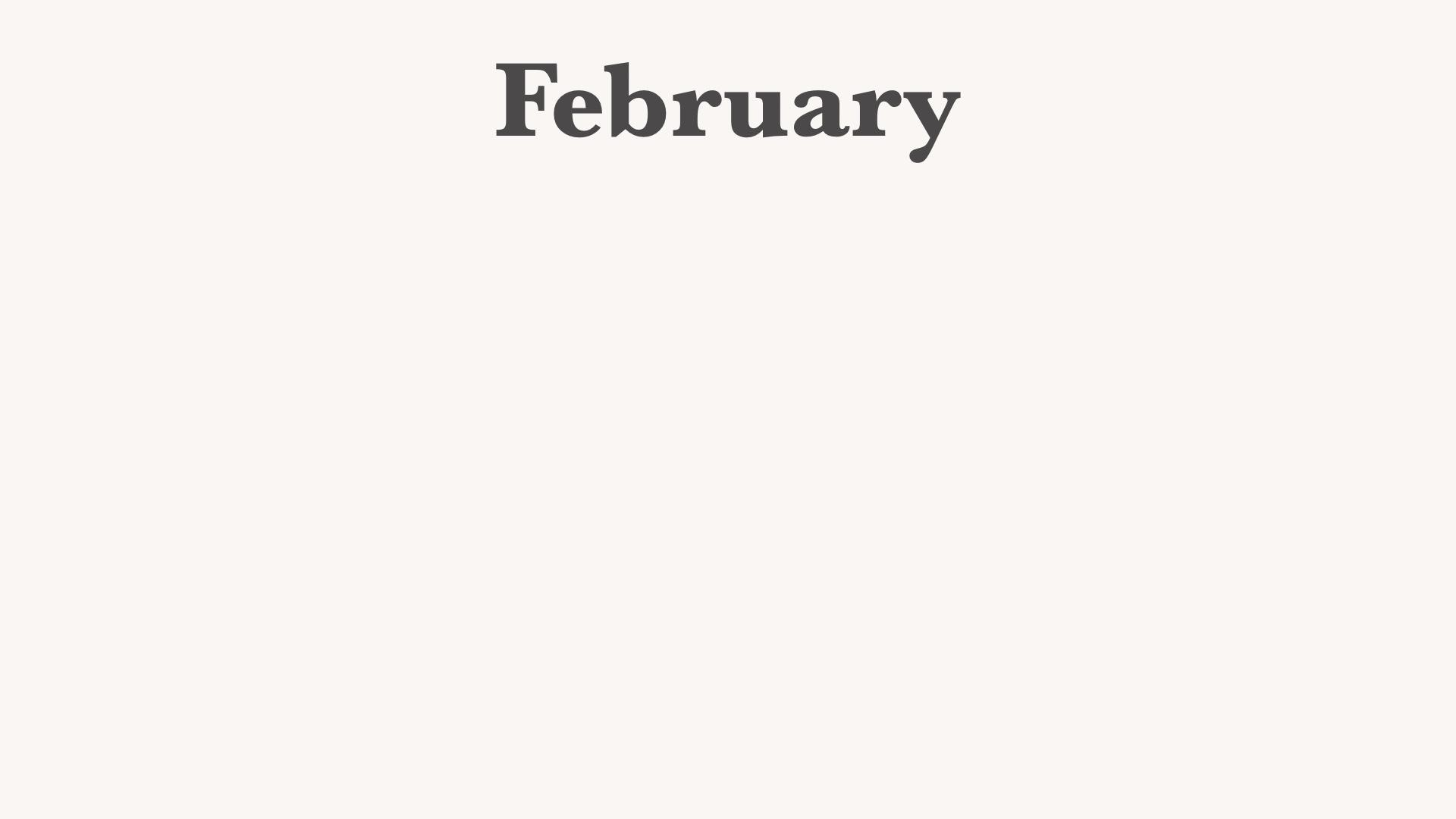 Februraryと入った白っぽいバーチャル背景