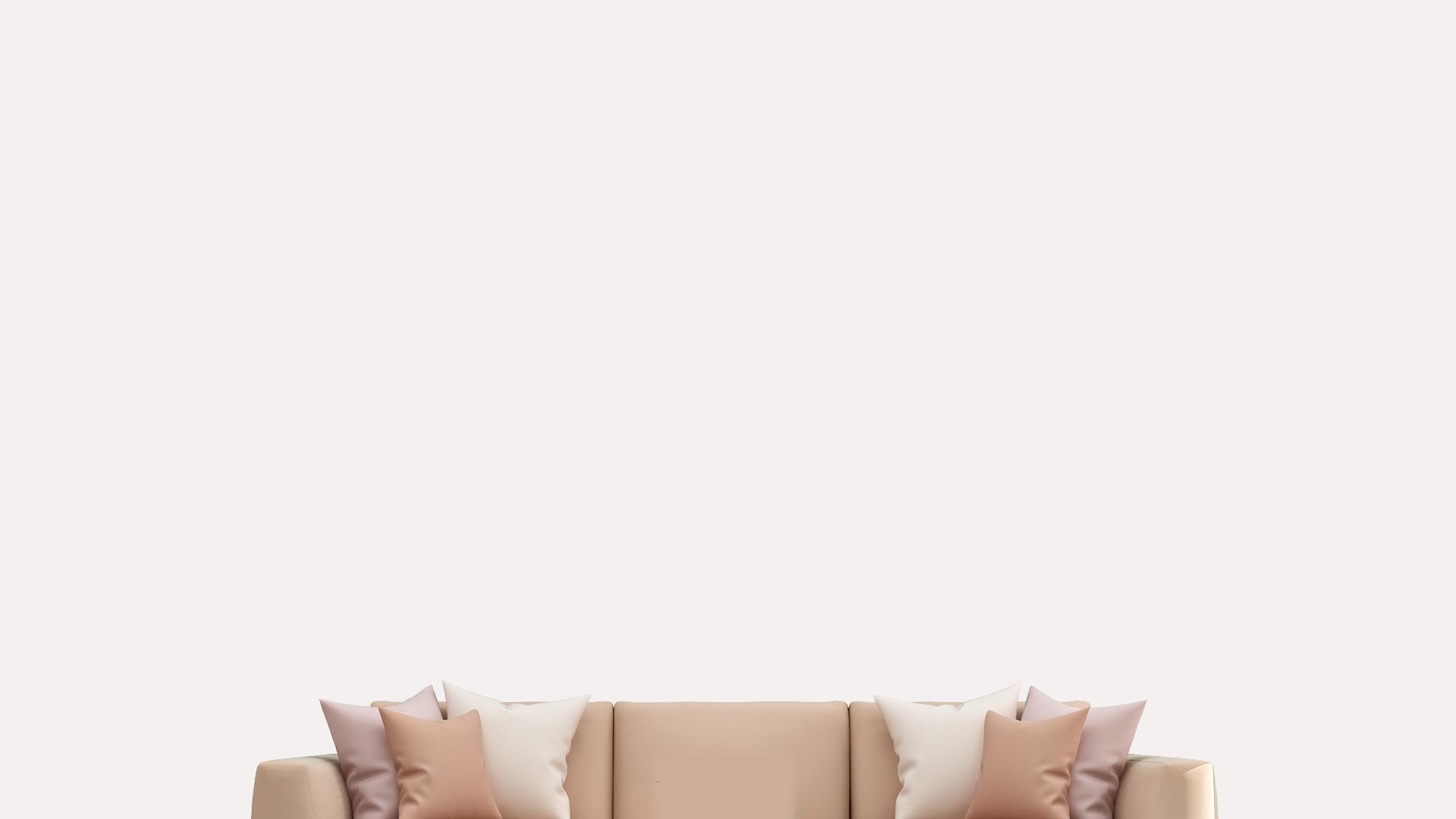 ピンクのソファーと白い壁