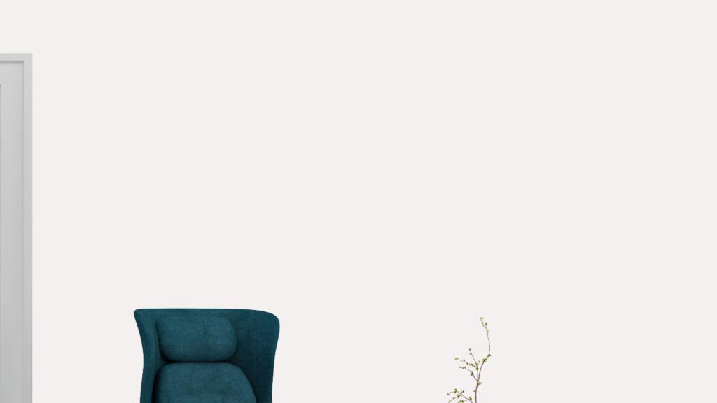 青い椅子のある白い壁のある部屋