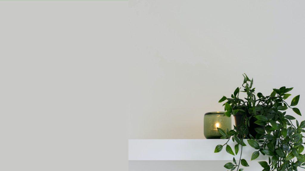 グレーの壁とキャンドルと観葉植物