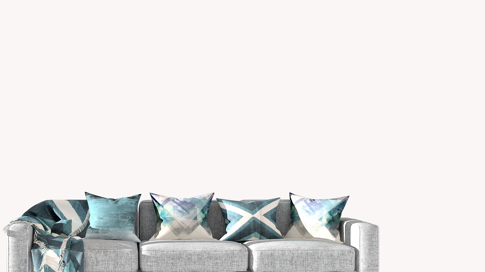 グレーのソファーと青いクッション