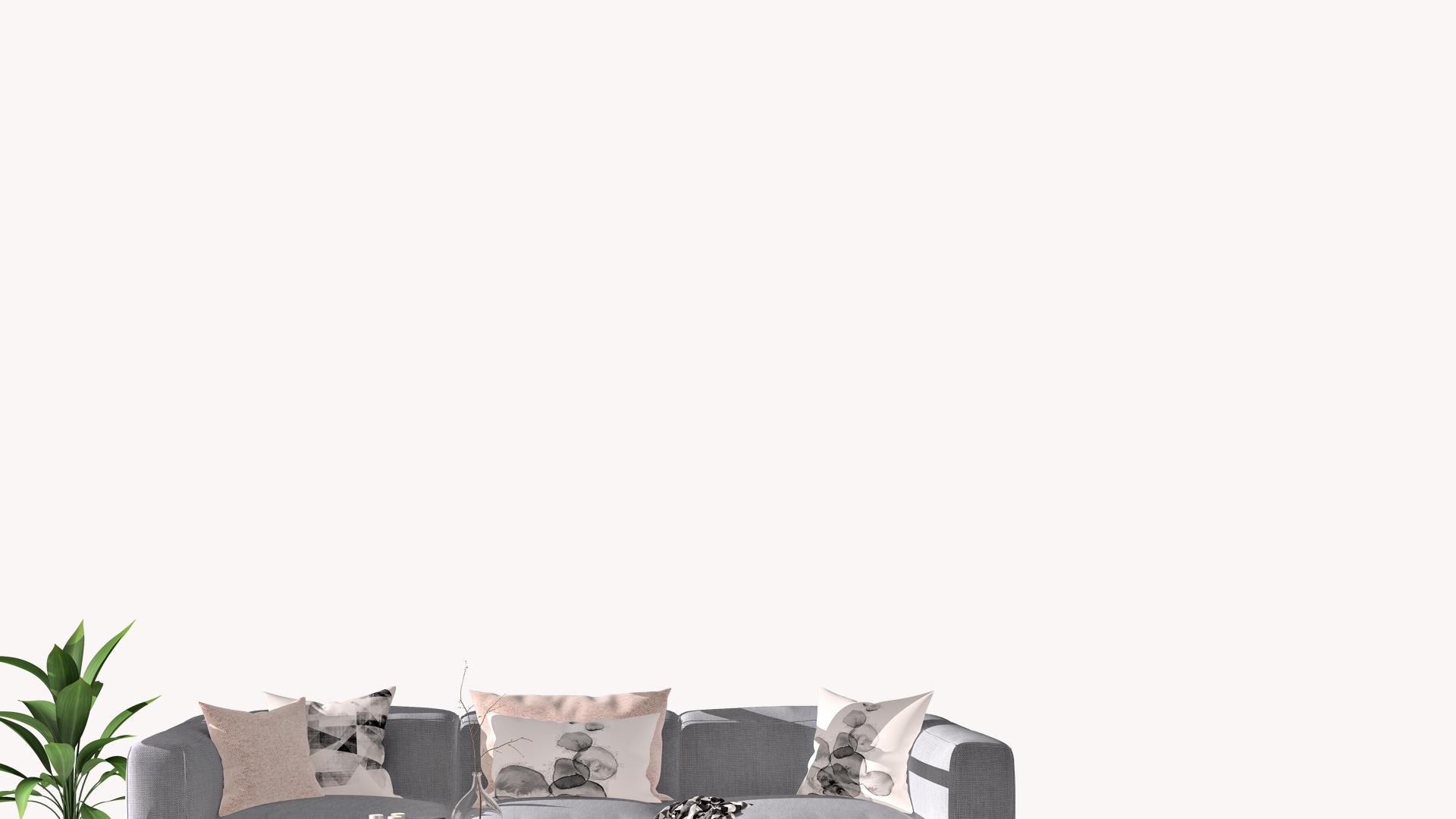 グレーのソファーと観葉植物